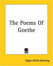 Cover of: The Poems Of Goethe | Edgar Alfred Bowring
