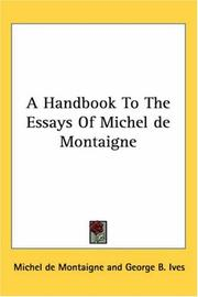 Cover of: A Handbook to the Essays of Michel De Montaigne