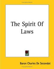 Cover of: The Spirit of Laws