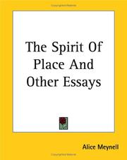 Cover of: The Spirit Of Place And Other Essays | Alice Christiana Thompson Meynell
