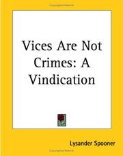 Cover of: Vices Are Not Crimes