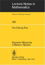 Cover of: Gaussian measures in Banach spaces