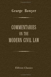 Cover of: Commentaries on the Modern Civil Law