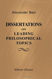 Cover of: Dissertations on Leading Philosophical Topics