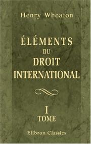 Cover of: Éléments du droit international