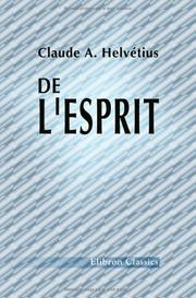 Cover of: De l'esprit