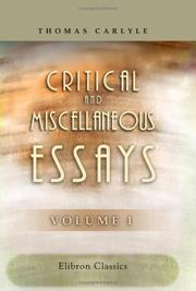 Cover of: Critical and Miscellaneous Essays | Thomas Carlyle