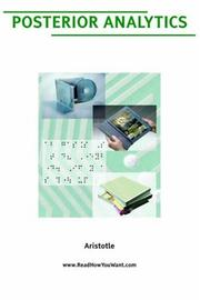 Cover of: Posterior Analytics (Large Print) |