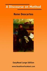 Cover of: A Discourse on Method [EasyRead Large Edition] by René Descartes