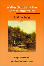 Cover of: Walter Scott and the Border Minstrelsy