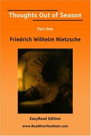 Cover of: Thoughts Out of Season Part One [EasyRead Edition] | Friedrich Nietzsche