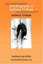 Cover of: Autobiography of Anthony Trollope | Anthony Trollope