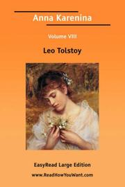 Cover of: Anna Karenina Volume 8 [EasyRead Large Edition] | Tolstoy