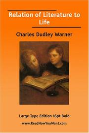 Cover of: Relation of Literature to Life