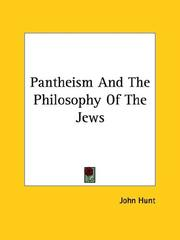 Cover of: Pantheism And The Philosophy Of The Jews