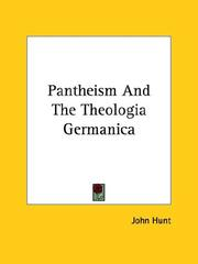 Cover of: Pantheism And The Theologia Germanica