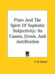 Cover of: Plato And The Spirit Of Sophistic Subjectivity