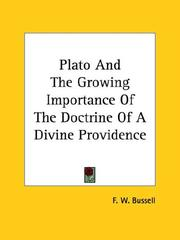 Cover of: Plato And The Growing Importance Of The Doctrine Of A Divine Providence