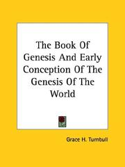 Cover of: The Book Of Genesis And Early Conception Of The Genesis Of The World
