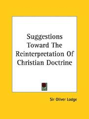 Cover of: Suggestions Toward The Reinterpretation Of Christian Doctrine