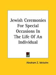 Cover of: Jewish Ceremonies For Special Occasions In The Life Of An Individual