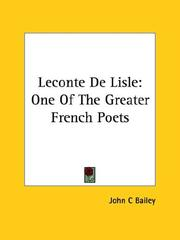 Cover of: Leconte De Lisle | John C. Bailey