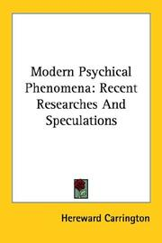 Cover of: Modern psychical phenomena