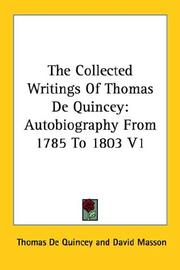 Cover of: The Collected Writings Of Thomas De Quincey | Thomas De Quincey