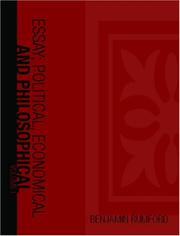 Cover of: Essays; Political, Economical, and Philosophical, Volume 1