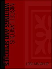 Cover of: Miscellaneous Writings and Speeches, Volume 1