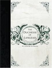 Cover of: The Duchesse of Langeais
