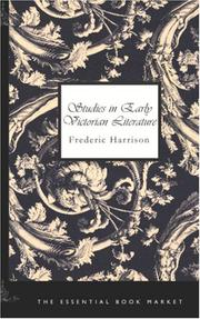 Cover of: Studies in Early Victorian Literature | Frederic Harrison