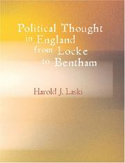 Cover of: Political Thought in England from Locke to Bentham