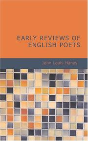 Cover of: Early Reviews of English Poets | John Louis Haney
