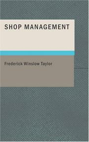 Shop Management by Frederick Winslow Taylor
