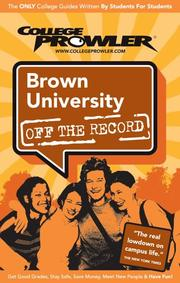 Cover of: Brown University Ri 2006 (Off the Record) | Matthew R. Kittay