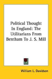 Cover of: Political Thought In England | William L. Davidson