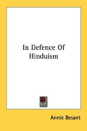 Cover of: In Defence Of Hinduism | Annie Wood Besant