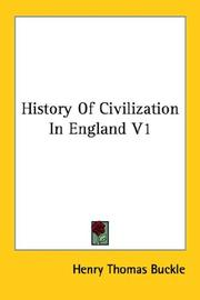 Cover of: History Of Civilization In England V1
