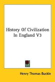 Cover of: History Of Civilization In England V3