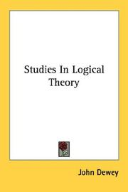 Cover of: Studies In Logical Theory (The Decennial Publications) | John Dewey