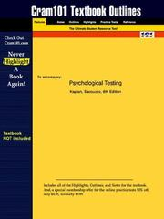 Cover of: Psychological Testing
