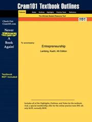 Cover of: Entrepreneurship (Cram101 Textbook Outlines - Textbook NOT Included) | Lambing