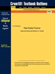 Cover of: Real Estate Finance (Cram101 Textbook Outlines - Textbook NOT Included) | Kolbe