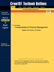 Cover of: Fundamentals of Financial Management (Cram101 Textbook Outlines - Textbook NOT Included) | Brigham