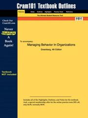 Cover of: Managing Behavior In Organizations (Cram101 Textbook Outlines - Textbook NOT Included) | Greenberg