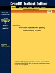 Cover of: Research Methods And Society | Hotchkiss, 1st Edition Dorsten