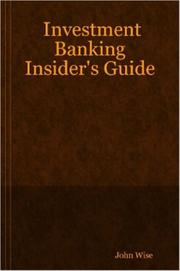 Cover of: Investment Banking Insider