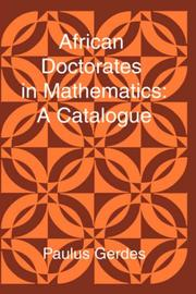 Cover of: African Doctorates in Mathematics. A Catalogue