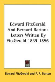 Cover of: Edward FitzGerald And Bernard Barton